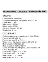 Tightening torques for Metropolis 400